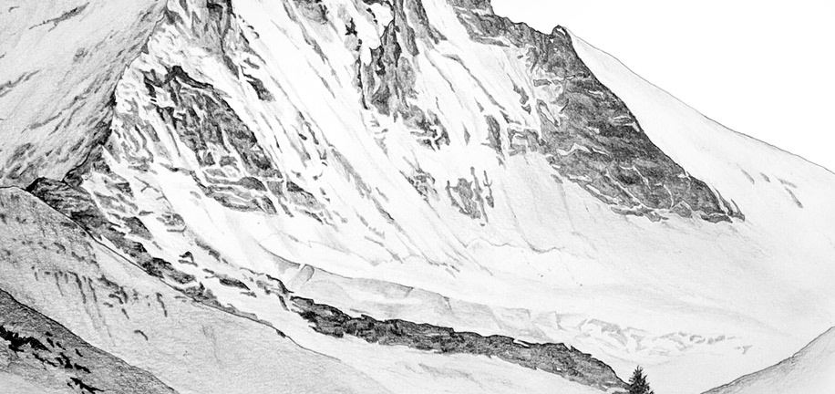 Detailed view of the Z'mutt ridge and glacier