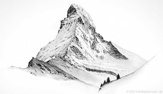 Original artwork: Matterhorn Pencil on paper sketch